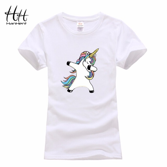 7e181d55a0f HanHent white cotton cute funny unicorn creative t shirt women funny  cartoon print tshirt o-neck casual fashion slim t-shirt