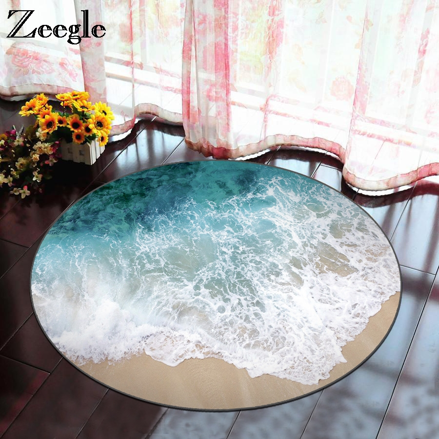 Zeegle Round Carpets For Living Room Soft Kids Bedroom Carpets Baby Paly Mats Anti-slip Computer Chair Floor Mats Child Room Rug
