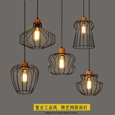 Nordic Loft Style Wooden Iron LED Pendant Light Fixtures Industrial Vintage Lighting For Indoor Dining Room RH Hanging LampNordic Loft Style Wooden Iron LED Pendant Light Fixtures Industrial Vintage Lighting For Indoor Dining Room RH Hanging Lamp