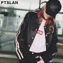 Ptslan Famous 2017 Hot Sale Spring Autumn Fashion Brand Women Real Leather Jacket Zipper Motorcycle Leather Coat  Short Genuine