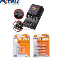 PKCELL 4Pcs NIZN AA Rechargeable Battery aa 2500mWh and 4Pcs ni zn AAA Battery aaa 900mWh 1.6v With Charger US Or EU Plug