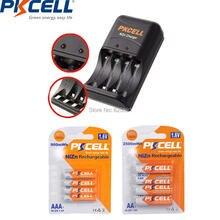 PKCELL 4Pcs NIZN AA 충전식 배터리 aa 2500mWh 및 4Pcs ni zn AAA 배터리 aaa 900mWh 1.6v 충전기 미국 또는 EU 플러그