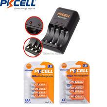Pkcell 4 pces nizn aa bateria recarregável aa 2500mwh e 4 pces ni zn aaa bateria 900mwh 1.6v com carregador eua ou plugue da ue