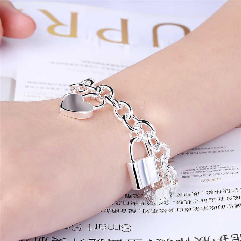 DOTEFFIL 925 סטרלינג כסף צמיד לב/מעגל/כיכר מנעול צמידי צמידי אישה איש אופנה חתונה קסם
