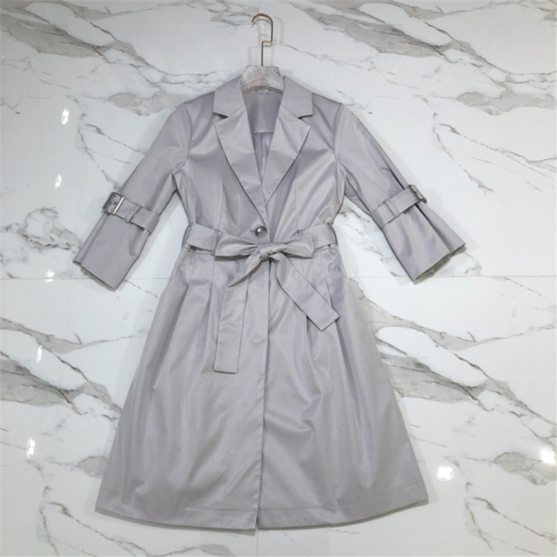 Luxury Designer Brand   Trench   for Women Waterproof Business Flare Sleeve Grey Long Coat Outerwear