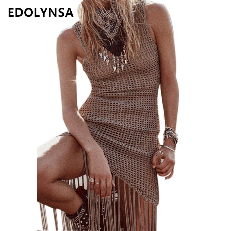Beach Dress 2018 Crochet Tunic Women Summer Dresses Plus Size Tunic Bohemian Dresses Solid Sexy Hollow Out Casual Dress N441