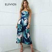 ELSVIOS Women Off Shoulder Summer Jumpsuits Wide Leg Rompers Jumpsuit 2017 Fashion Floral Print Elegant Beach