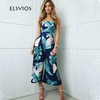 ELSVIOS Women Off Shoulder Summer Jumpsuits Wide Leg Rompers Jumpsuit 2017 Fashion Floral Print Elegant Beach