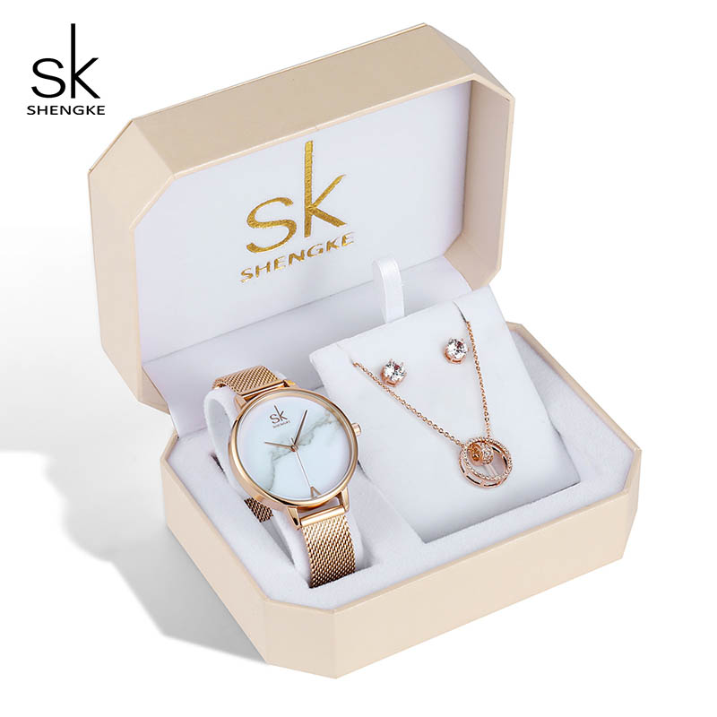 Shengke Women Watches Set Luxury Crystal Earrings Necklace Watches Set Reloj Mujer 2019 SK Ladies Quartz