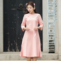 Sweet Preppy Design For Women Round Neck Split Side Cotton Linen Casual And Slim Pink Dress Chinese Women Style Spring Fall