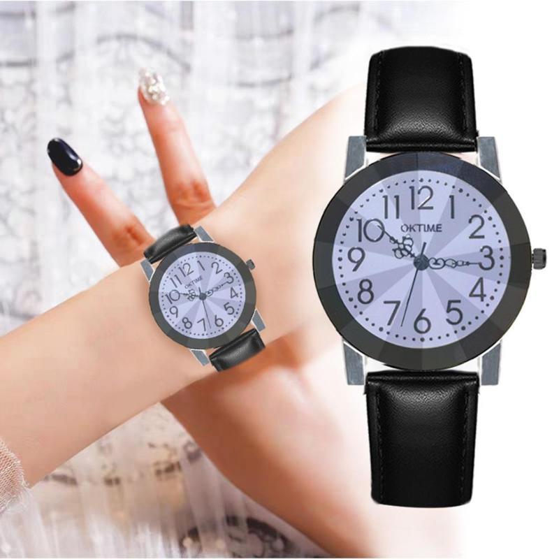 PU Leather Strap Quartz Watch Women Men Flower Print Dial Analog Wristwatch Business Clock Women's Watch 2019 Reloj Mujer Rated
