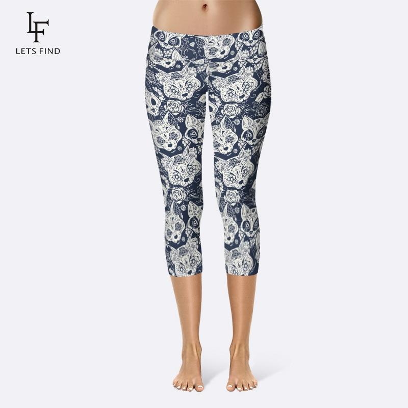 Summer Style Women Capri Leggings High Waist Leopard Print Plus Size Pants Fitness Mid-Calf Elastic Soft Mid Calf Legging