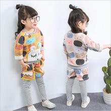 spring autumn women clothes set child o-neck lengthy sleeve cartoon printed hoodies and pant 2pcs youngsters cute informal garments youngsters