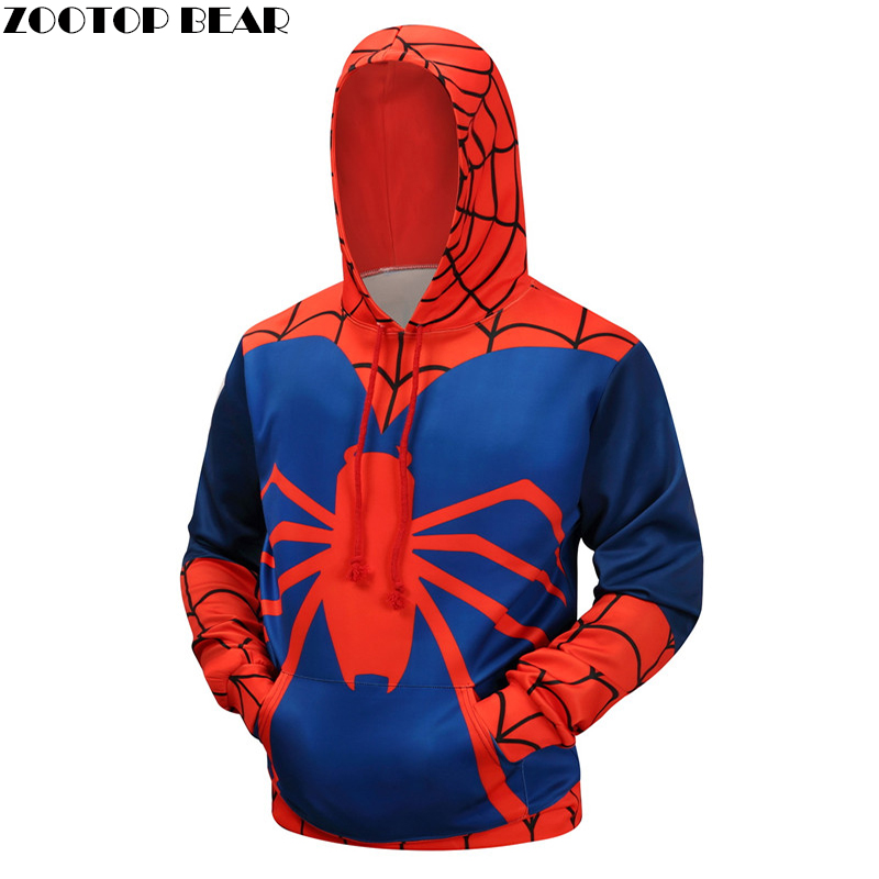 Hot Spiderman 3D Hoodies Men Brand Sweatshirts Printed Winter Autumn Pullover Fashion Novelty Tracksuit Hooded Jackets Male Coat