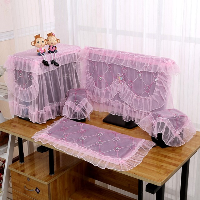 Desktop Computer Cover Sets Purple Lace Embroidery Dust Proof Desk  Decoration With Lace Table Cover Audio Player Dust Covers