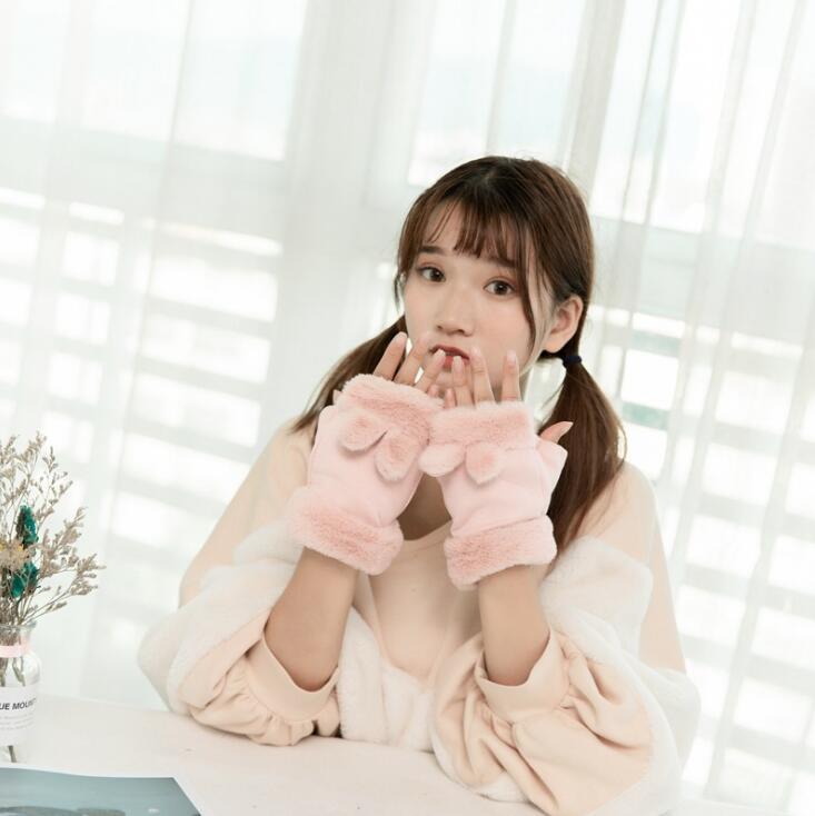 Dropshipping winter kaninchen ohren damen handschuhe