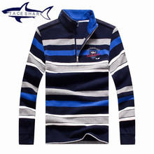 High Quality Cotton Mens Long Sleeve polo sweater Autumn top  Brand Men Straight Colorful Striped Business style Sweater Shark