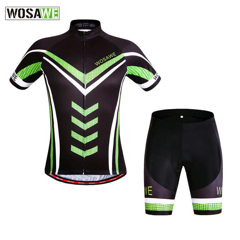 WOSAWE Pro Cycling Jerseys Sets Green Short Sleeve Ciclismo Breathable Quick-Dry GEL Pad MTB Bike Bicycle Cycling Clothings