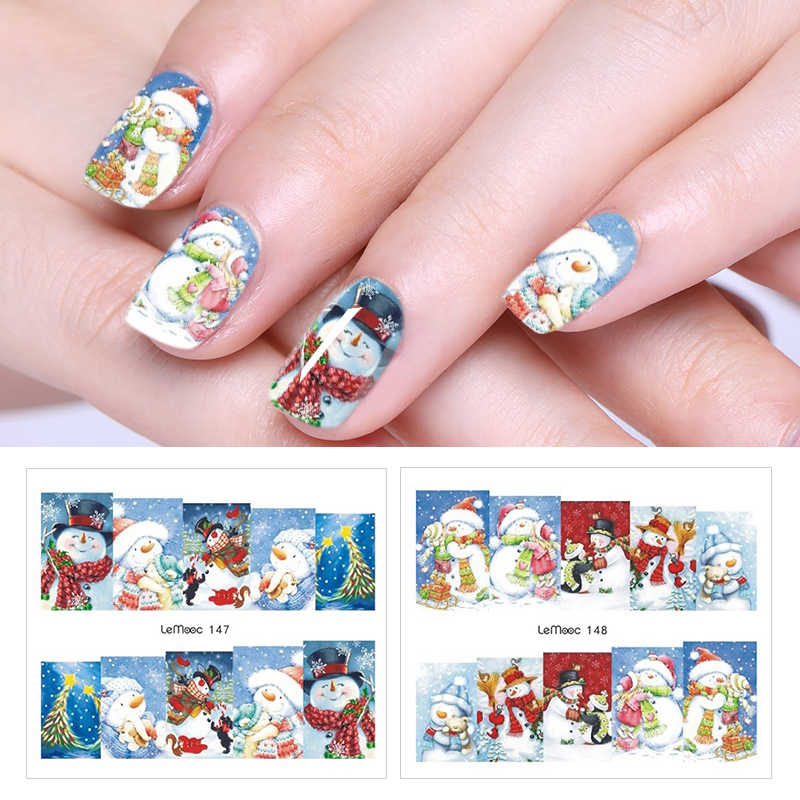 LEMOOC Nail Transfer Water Sticker Decal Christmas Theme Designs Nail Art Decoration for Manicure Watermark Nail Stickers