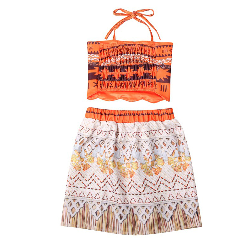 Baby girl clothes Princess dress Moana Cosplay Costume for Children Vaiana Girls Party Wedding dresses with Necklace Costumes in Dresses from Mother Kids