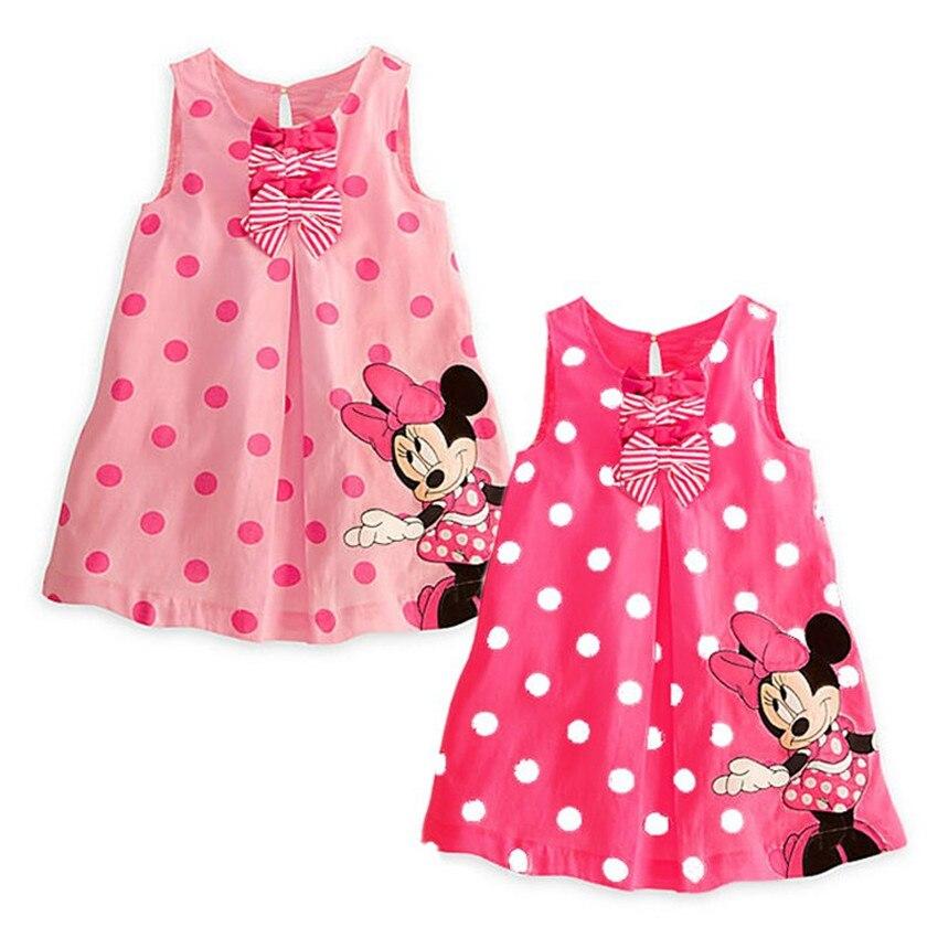 ФОТО 5pcs/lot 2014 new cute baby girls summer one-piece dress children sundress kids cute minne sleeveless dress 10e