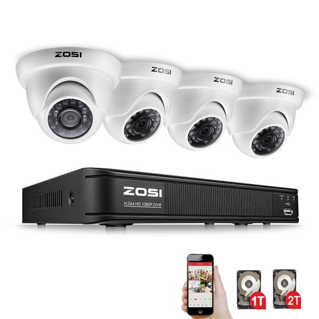 ZOSI 4 canales completo 1080 P HD-TVI caja grabadora DVR Kit sistema CCTV con filtro infrarrojo de 2MP domo de visión nocturna al aire libre cámara de vídeo