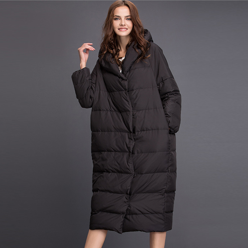 YNZZU 2018 Autumn Winter Womens   Down   Jacket Elegant Solid Long Duck   Down     Coat   Women Hooded Thick Warm Outwears Plus Size O687