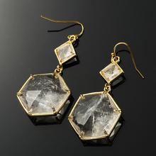 100-Unique 1 Pair Light Yellow Gold Color Natural Rock Crystal Earrings Hexagon Cabochon Jewelry
