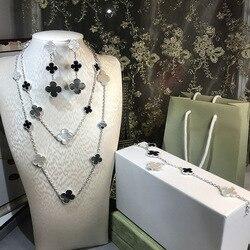 Brand Women Wedding Jewelry Set 16 Flower Necklace Mother Black Onxy Grey Shell Pearl Clover Drop Earrings Bracelet Rings Set