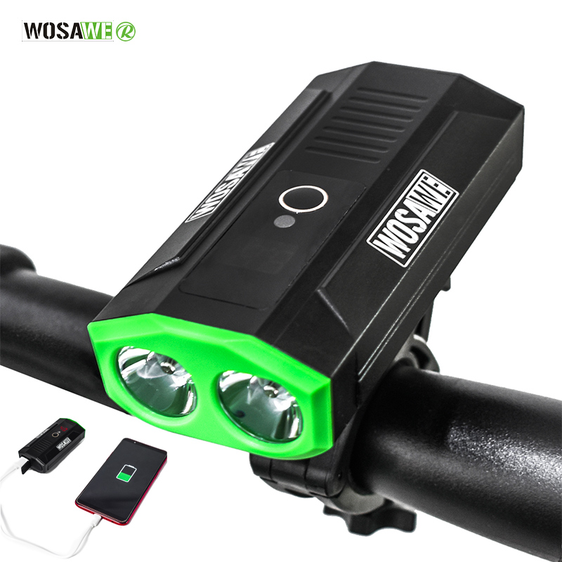 WOSAWE LED Rechargeable Bike Light USB Double Lamp Headlight Cycling Outdoor Camping Powerful Led Flashlight 2400