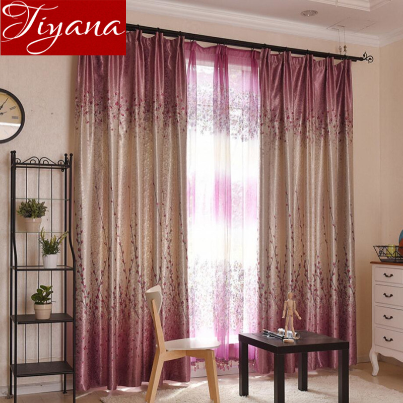 Floral Curtains Printed Voile Window Screen Yarn For