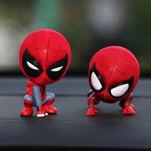 Auto Zubehör Cartoon Spider-Man Modell Schütteln Kopf Spielzeug Ornament Magnet Auto Innen Dashboard Dekoration Aufkleber Puppe Geschenke