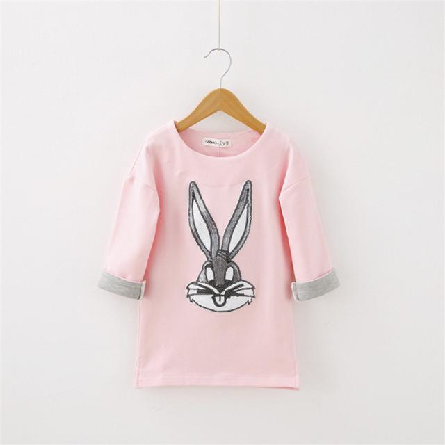 2017 nuevos niños clothing o-cuello medio-largo prendas de vestir exteriores del niño sudadera niña paillette rosa cabeza de conejo