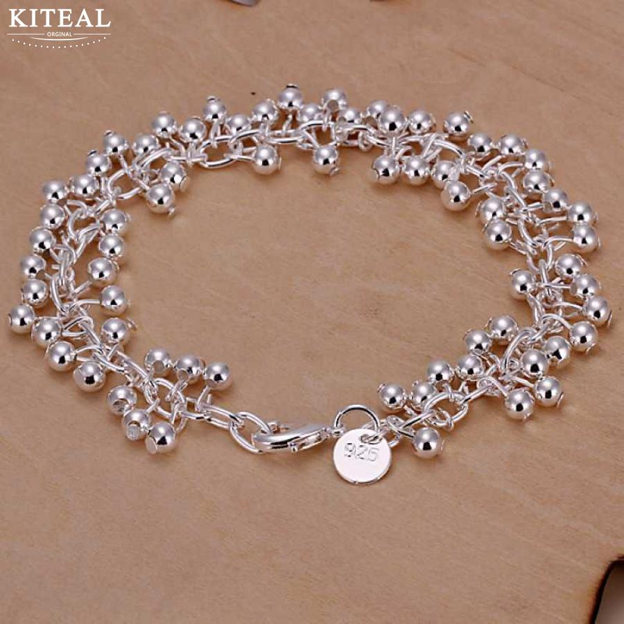 Hot sale Silver plated Bracelet 19cm smooth grape beads Chai