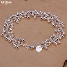 Hot sale Silver plated Bracelet 19cm smooth grape beads Chain Charm ball Bracelet for women men Jewelry H017 925