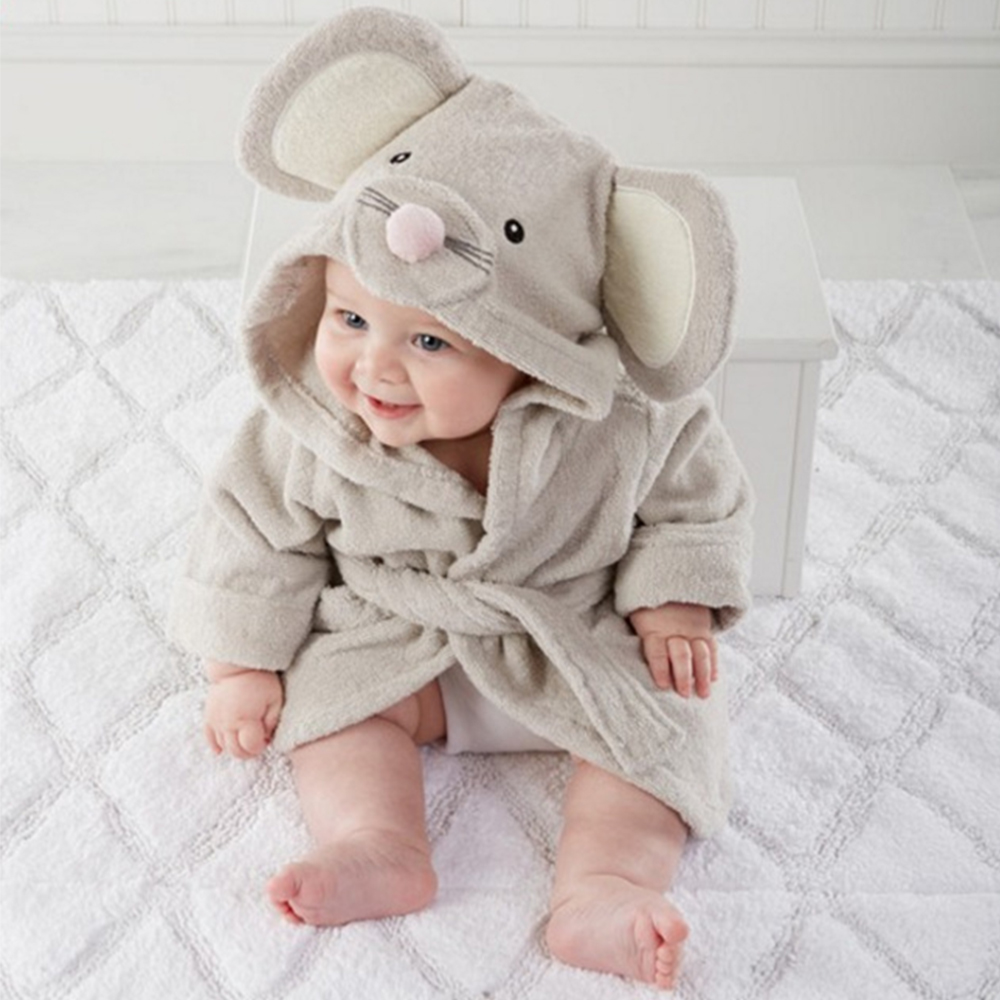 Animal Baby Bath Towels Newborn Hooded Towel Blanket Bedding Swaddle Mouse Lion Bebe Bathrobe Bathing Baby Washcloth