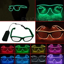 EL Wire Fashion Neon LED Light DJ Bright Glasses Glow Rave Costume Party Blinds Glasses Fluorescent Dance Performances Bar(China)