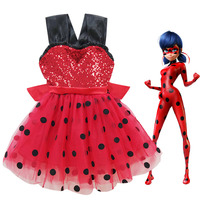Miraculous Ladybug Princess Party Dresses Shining Baby Birthday Dress Girls Vest Dress Christmas Clothing Kids Lady