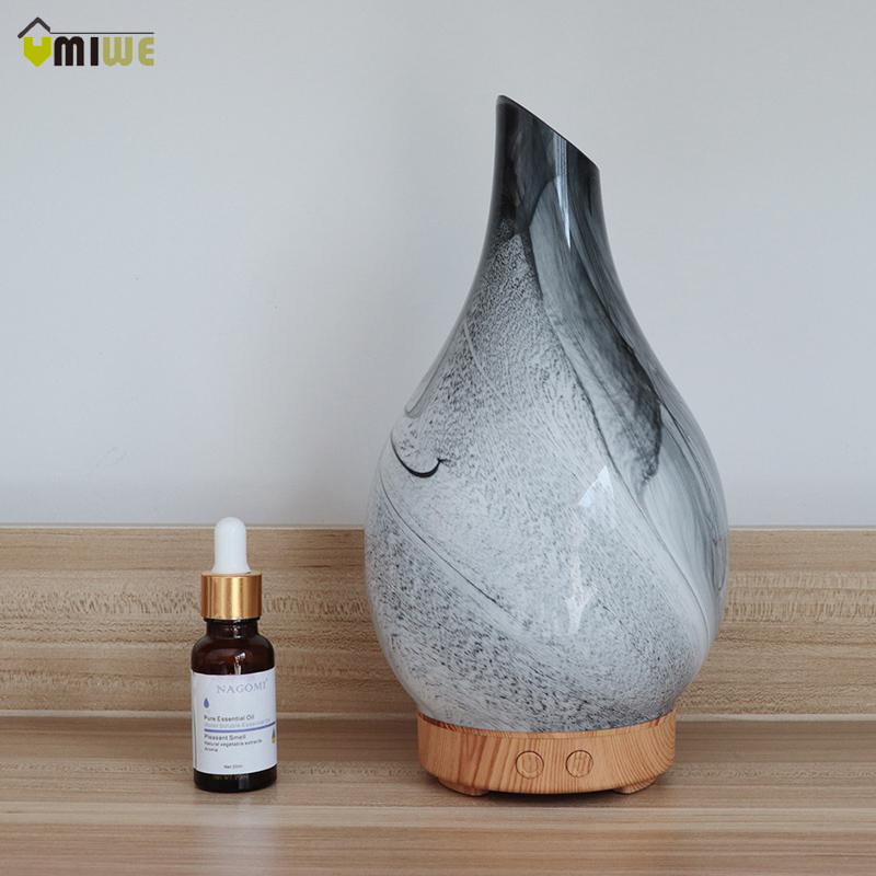 Unique Design 3D Glass Vase Aromatherapy Essential Oil Diffuser Multi-color Changing Mist Maker Air Humidifier for Home Decor
