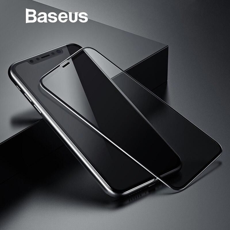 Baseus 0,23mm Protector de pantalla para iPhone Xs XR Xs Max 2018 funda protectora de cobertura completa de vidrio templado para iPhone X espía