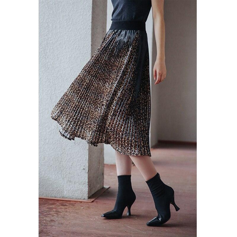 Leopard print Pleated skirt with elastic waist skirt