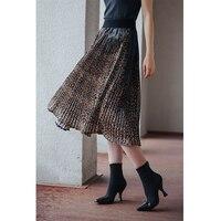 Плиссированная юбка с леопардовым принтом и эластичной талией
