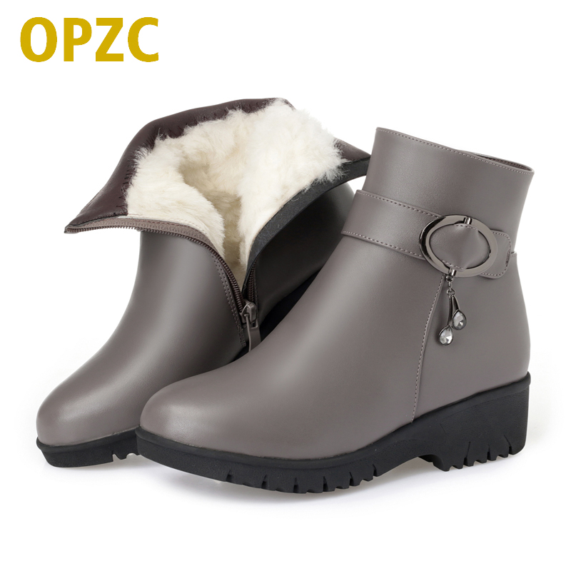 OPZC Women boots 2018 new genuine leather female snow boots, big size 42 43 warm thick wool boots lady, flat mother winter boots недорого
