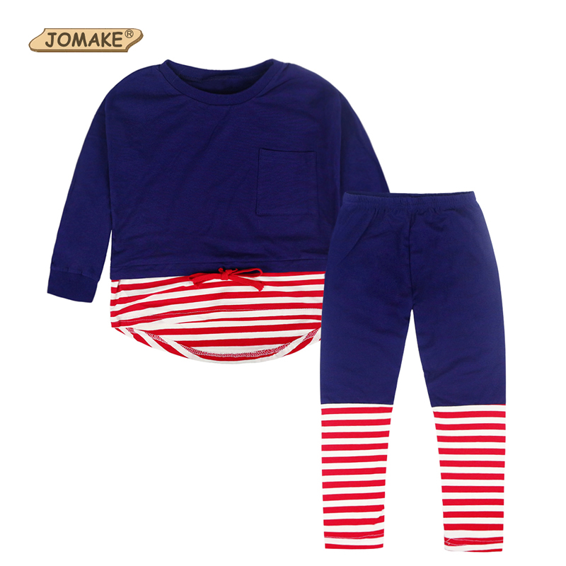 цена  Striped Toddler Girl Clothing New Arrival Girls Clothing Sets O-Neck Pullover Kids Tops And Pants Autumn Casual Kids 2PCS Suits  онлайн в 2017 году