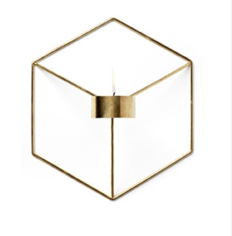 Creative Brief Nordic Style Wall Cheap Candle Holder Shelf 3D Geometric Iron Metal Sconce Candlestick Bar Home Decoration E2S