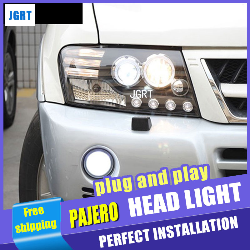Car Styling for Mitsubishi Pajero V73 LED Headlight assembly Bi Xenon Headlights drl Lens Double Beam H7 with hid kit 2pcs. hireno car styling headlamp for 2011 15 honda civic headlight assembly led drl angel lens double beam hid xenon 2pcs