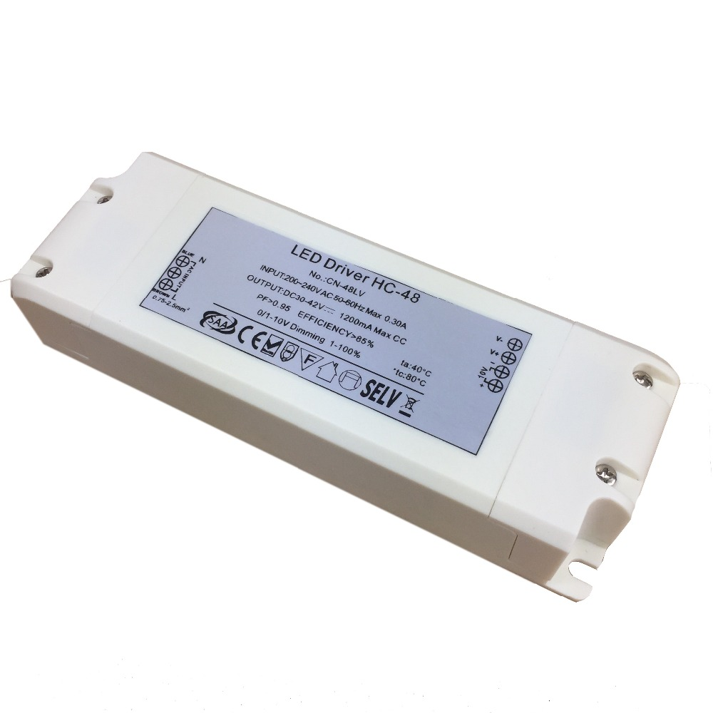 Power Supply 700mA 1000mA 1300mA  0/1-10v Dimming Led Driver 48W Suitable For LED Lighting SELV CC Power Supply