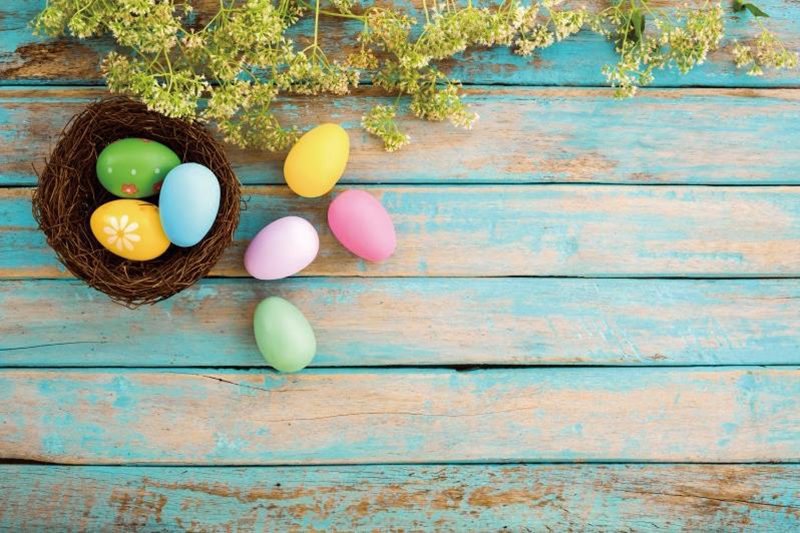 Laeacco Wooden Board Colorful Easter Eggs Flowers Baby Photography Background Customized Photographic Backdrops For Photo Studio