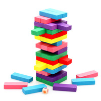 48pcs Multi colored Wooden Tumbling Stacking Tower Building Blocks Kids Family Party Board Game Dominoes