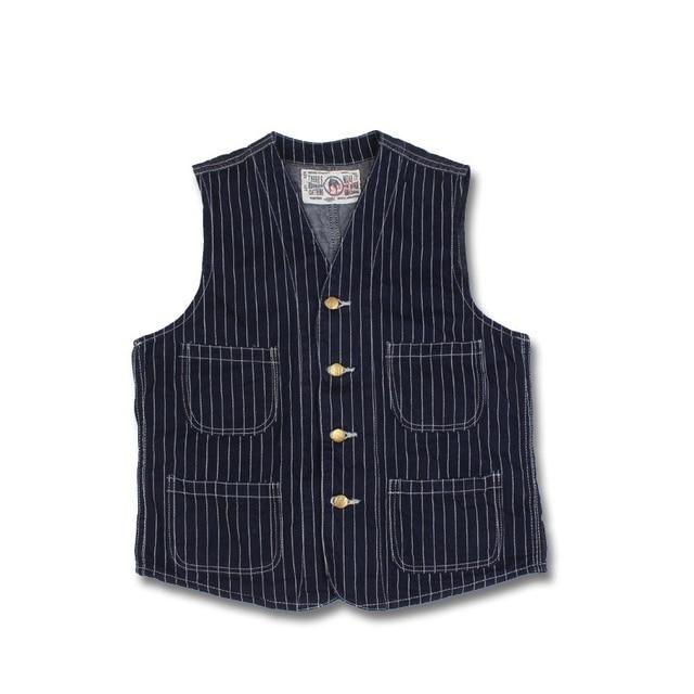 New 2016 BRONSON Indigo WorkWear vest men's denim railroad stripe active vests striped denim vest